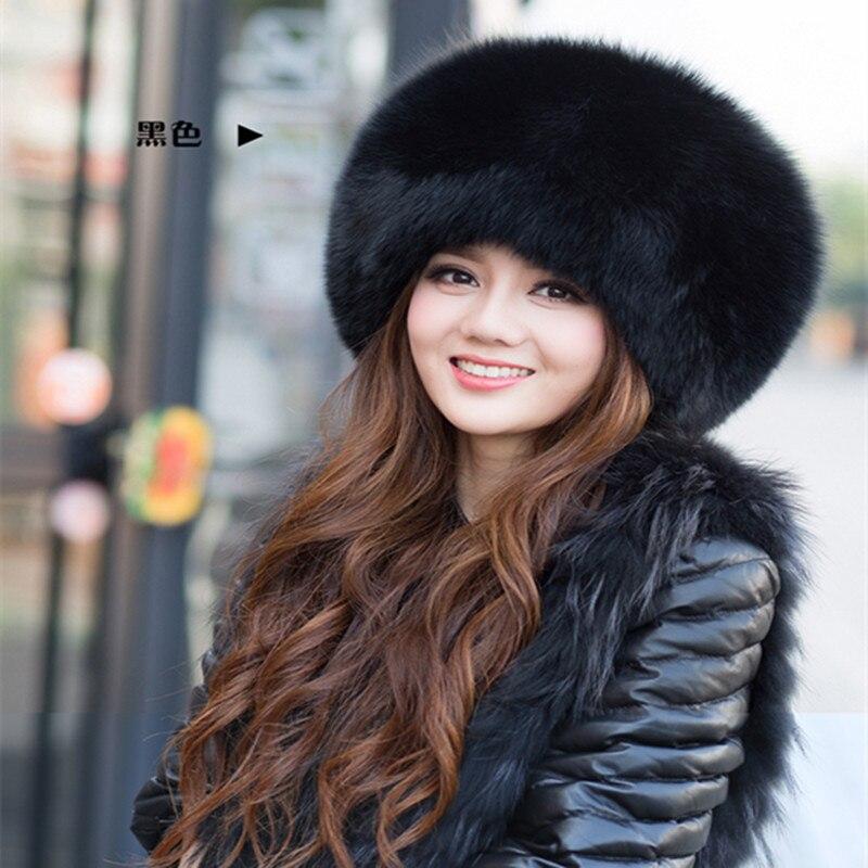 Russian winter hat 100% genuine luxury fox fur hat woman fashion women winter warm earmuffs big round full leather