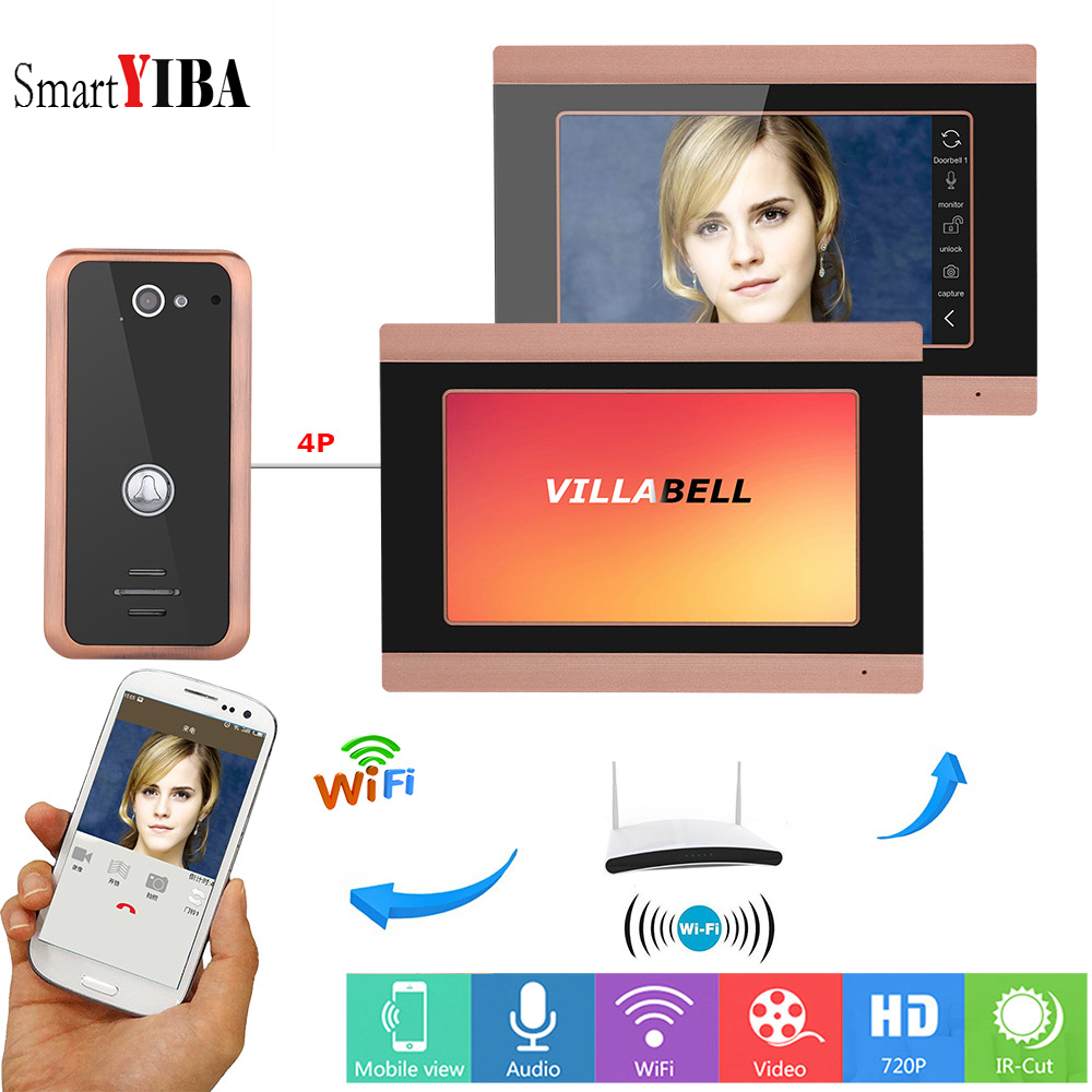 SmartYIBA Video Door Bell Wifi 2 Monitor Wireless Door Intercom System App Remote Control Intercoms for Private Homes Video Call