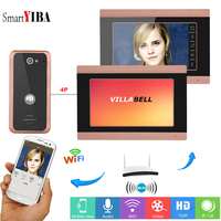 SmartYIBA Video Door Bell Wifi 2 Monitor Wireless Door Intercom System App Remote Control Intercoms for Private Homes Video Call