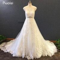 Elegant A Line Wedding Dresses Appliques Sheer Back Bridal Gowns Vestido De Novia Lace Cap Sleeve
