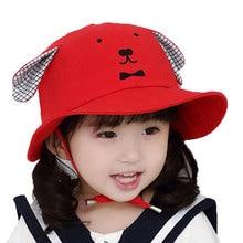 0225e6d3fc2 Girls Boys Child Hat Bucket Hat Kids Outdoor Fisherman Cap Adjustable Dog  Ear Cotton Cap Spring