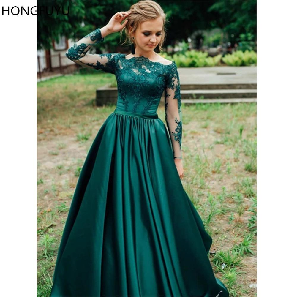 HONGFUYU A-Line Green Satin Prom Dresses Appliques Long Sleeve Off The Shoulder Evening Dresses Vestido De Festa Floor Length
