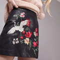 2017 New Faux Pu Leather Skirts Womens American Floral Embroidery Skirts Black Mini  High Waist Skirt BBWM16166