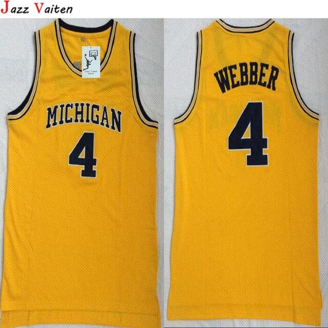 285d288dcd29 ... authentic chris webber michigan jersey michigan wolverines 4 chirs  webber yellow college basketball ...