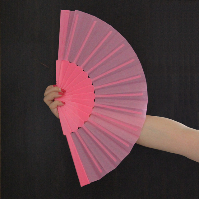 Free Shipping 23cm Japanese Style Plain Color Polyester Hand Fan Durable Plastic Handle Folding Fans GYS911