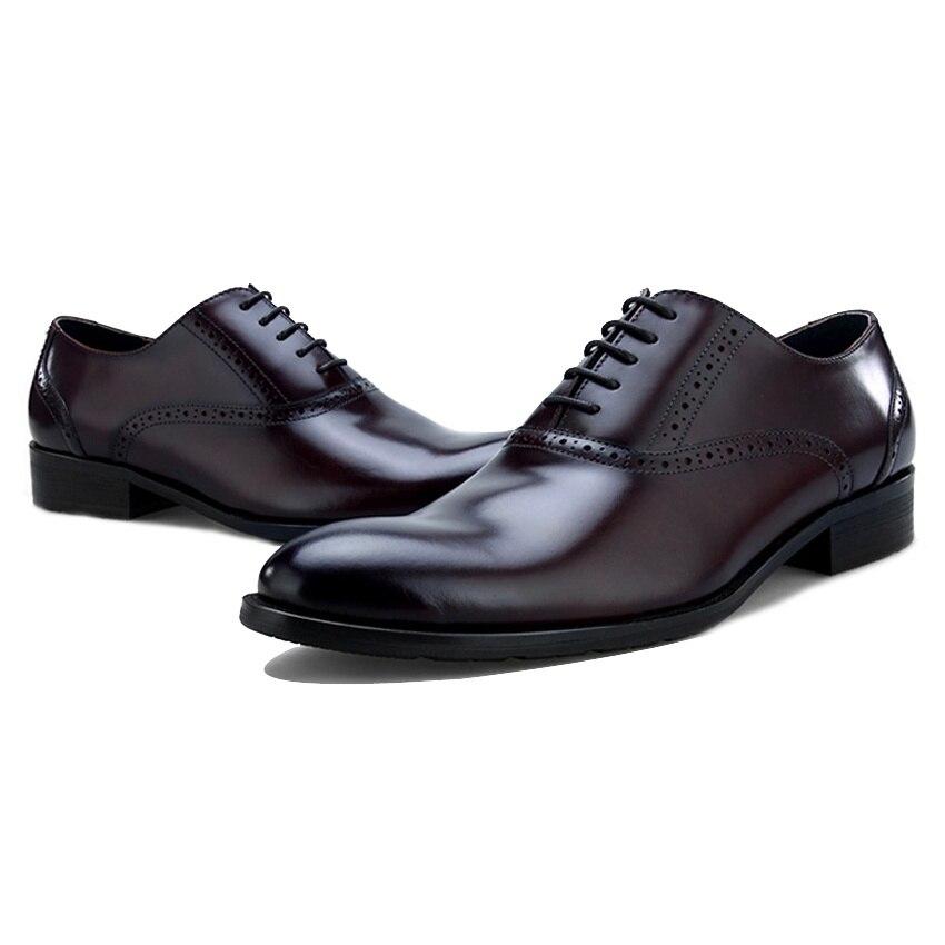 Zapatos Negro Mano Hombre Medallón Brogue Nuevo Pie Británico Marca Cuero Tallada Oxfords Genuino Hombres Vestido Los Bql57 chocolate Boda De Hecho Formal A Dedo Del Redonda ISwBn5wqC