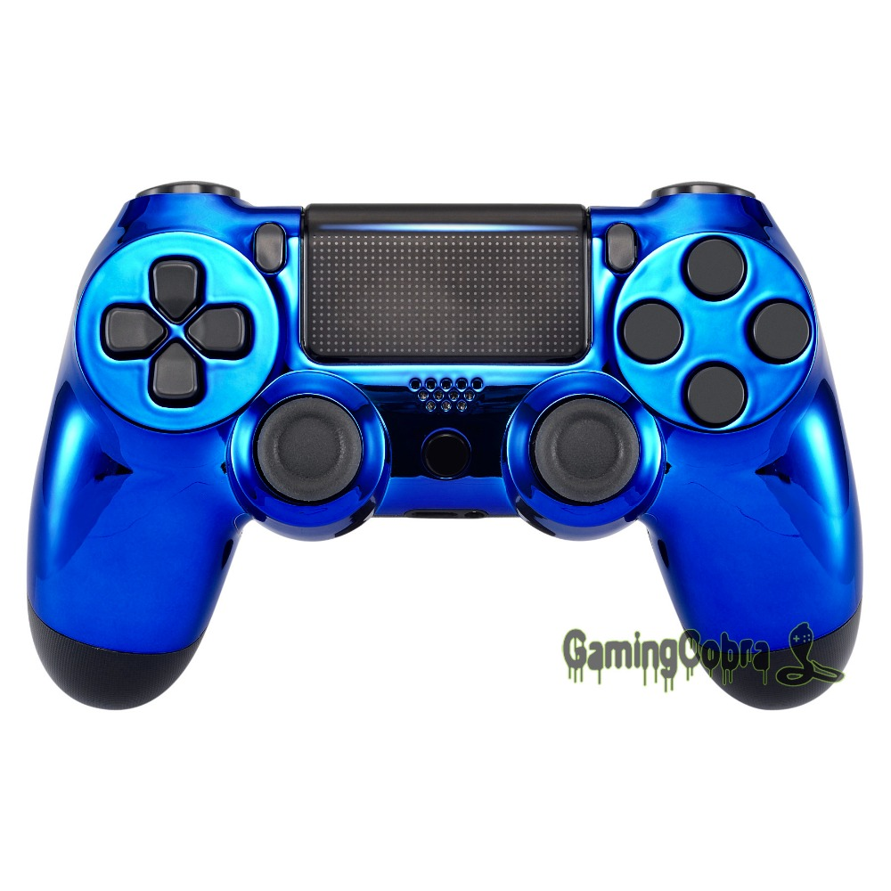 Chrome Blue Edition Front Housing Shell Faceplate Cover for PS4 Slim & for PS4 Pro Controller - JDM-040 JDM-050 JDM-055