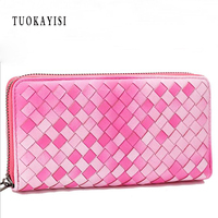 100 Genuine Leather Weave Wallet Women Money Clips Brand Female Purse Luxury Knitting Credit Clutch Phone