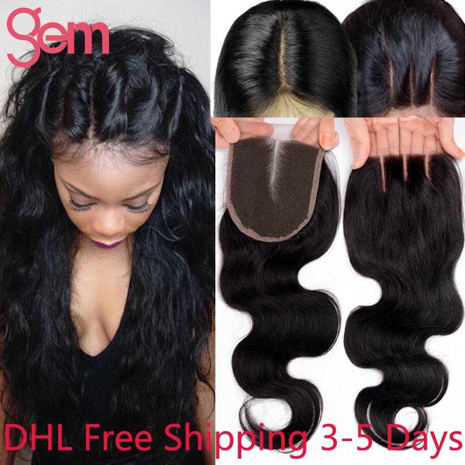 ФОТО 7A Virgin Hair Lace Closure 4x4 Body Wave Closure Unprocessed Human Hair Closure Free Middle 3 Side Part Closure GEM Beauty Weve