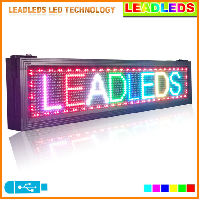 """Leadleds Ao Ar Livre Display Led L 41 """"X H 9.5"""" 7 TCP Tela Colorida Led Programável Scrolling Publicidade Para A Janela Do Lado de Fora"""