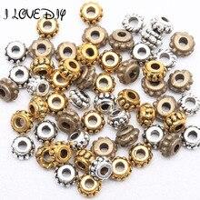 150pcs /lot Tibetan Flower Beads Metal Silver Antique Flower Decorative Pattern Spacer Bead Finding 5*3mm