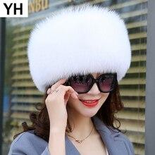 2020 Women Winter Natural Real Fox Fur Hat 100% Real Fox Fur Cap Quality Russia Warm Real Fox Fur Caps Real Fox Fur Bomber Hats