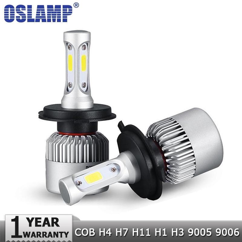 Oslamp H4 H7 H11 H1 H3 9005 9006 COB LED Del Faro Dell'automobile lampadine Hi-Lo Fascio 72 W 8000LM 6500 K Auto Faro Nebbia Lampadina 12 v 24 v