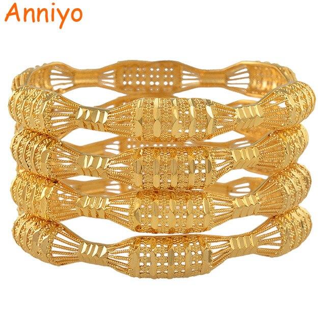 مجموعة من 4 قطع من الأساور للسيدات باللون الذهبي مناسبة كهدية عربية أفريقية #088106 متر