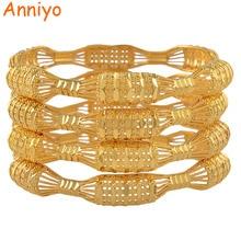 Anniyo 4PCS/LOT, CANNOT OPEN / Dubai Bangle Bracelet for Women Gold Color Jewelry African Arab Gift #088106M