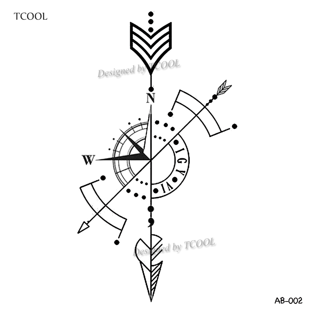 HXMAN Arrow Temporary Tattoo Sticker Compass Tattoos For Women Sexy Body Art Waterproof Men Hand Fake Tatoo 9.8X6cm AB-002