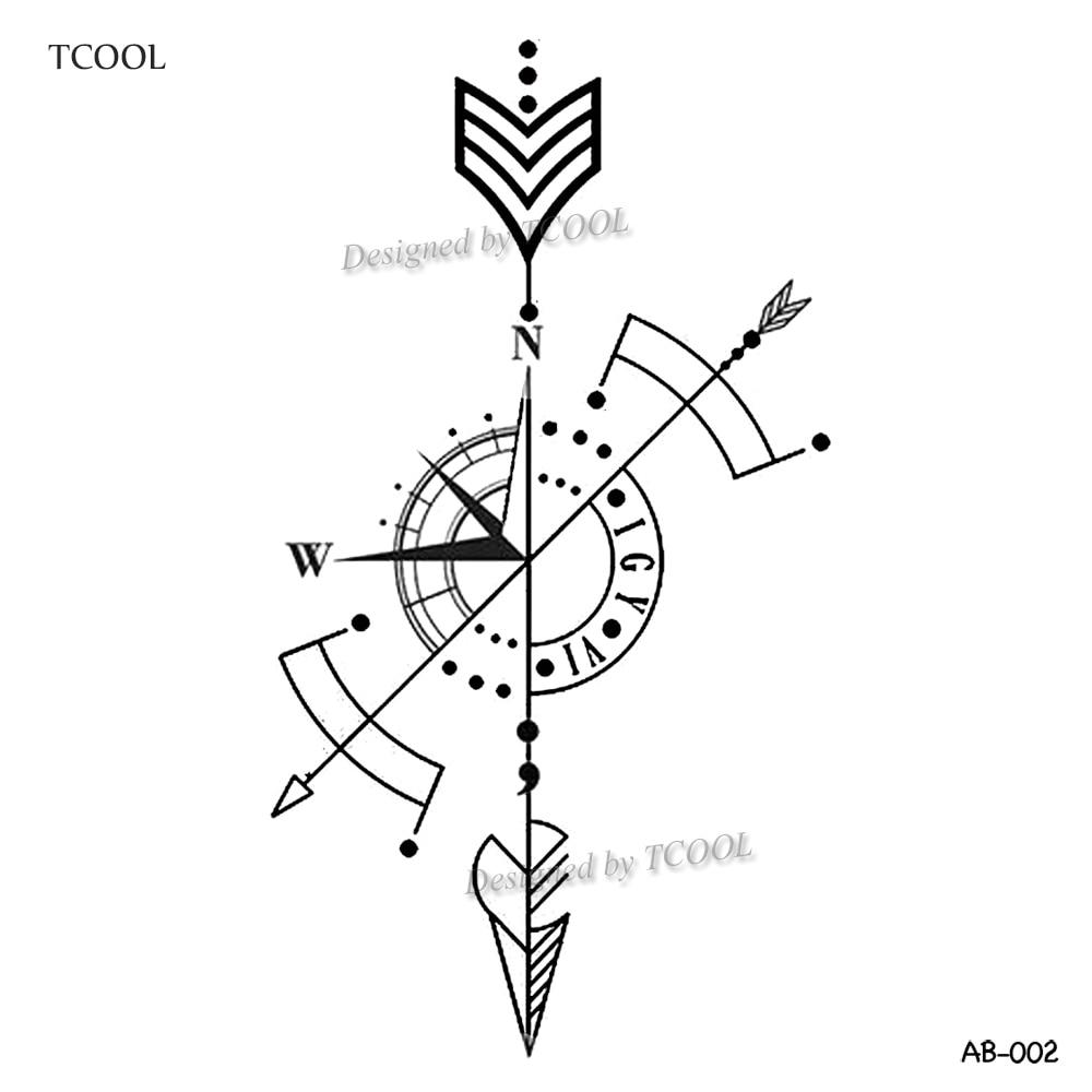 HXMAN Arrow Temporary Tattoo Sticker Compass Tattoos For Women Sexy Body Art Waterproof Men Hand Fake Tatoo 9.8X6cm AB-002