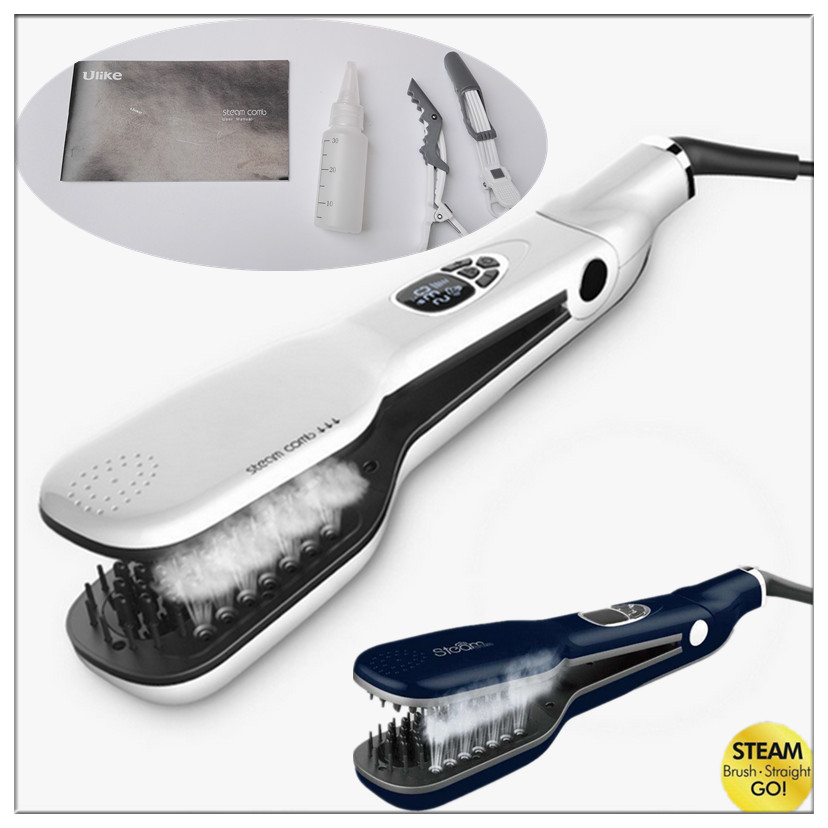 Personal Use Digital Steam Hair Straightener Comb And Electric Hair Styling Brush Ionic Straighten Hair Brush Steam Comb ceramic electric hair straightener direct volume dual use bangs straight hair comb perm artifact does not hurt free shipping