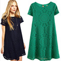 Summer Style Plus Size Women Clothing Vestidos Mujer Lace Dresses Summer Casual Dress 2015 New Short Sleeve Loose Dress C152