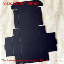 50pcs/lot-9.5*9.5*3cm Big Size Blank Aircraft Cardboard Party Boxes Craftwork Gift, Fastener, Ear Rings Black Paper Boxes