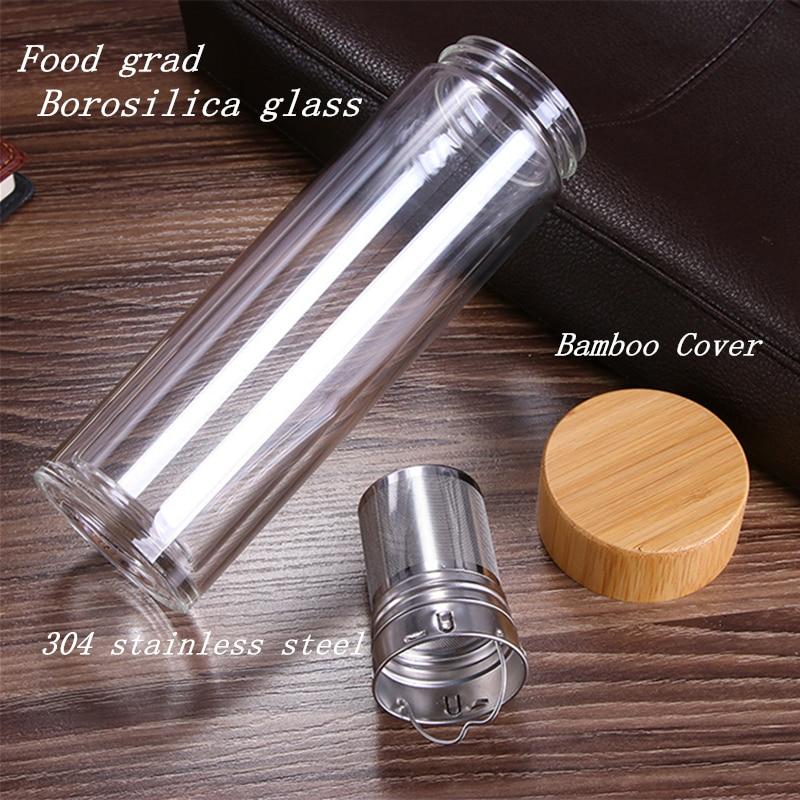 Image 3 - Tea Bottle Glass Bottled Water Bottle Infuser With Filter Strainer Borosilica Double Wall Drink Bamboo Lid 450ml Car DrinkwareWater Bottles   -