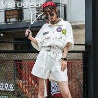 Vefadisa Women Summer Black White Playsuits High Waist Denim Playsuits Women Casual Style Jumpsuits 2019 ZQY348A