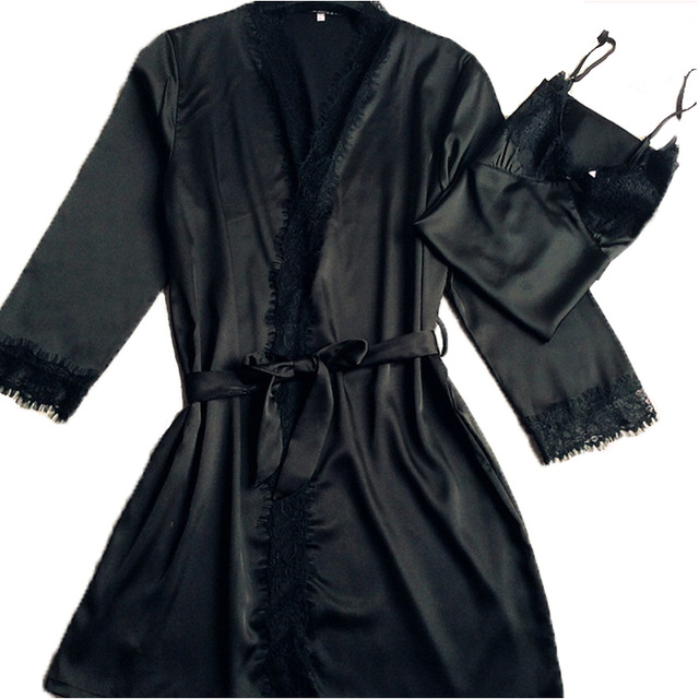 New Solid Satin Silk Lace Robe Spring Summer Sexy Women Bathrobe Sleep Robes Ladies Home Clothes Sleepwear + Bathing Robe Hot