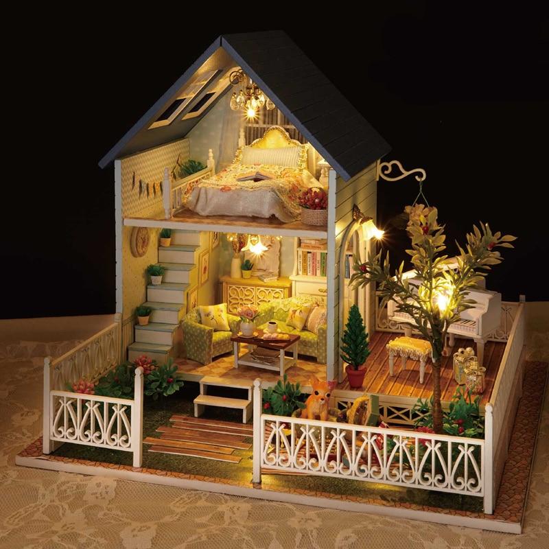 Mignon chambre bricolage maison de poupée Miniature maison de poupée avec meubles 3D en bois maison Puzzle jouets pour enfants cadeau d'anniversaire A030 # E