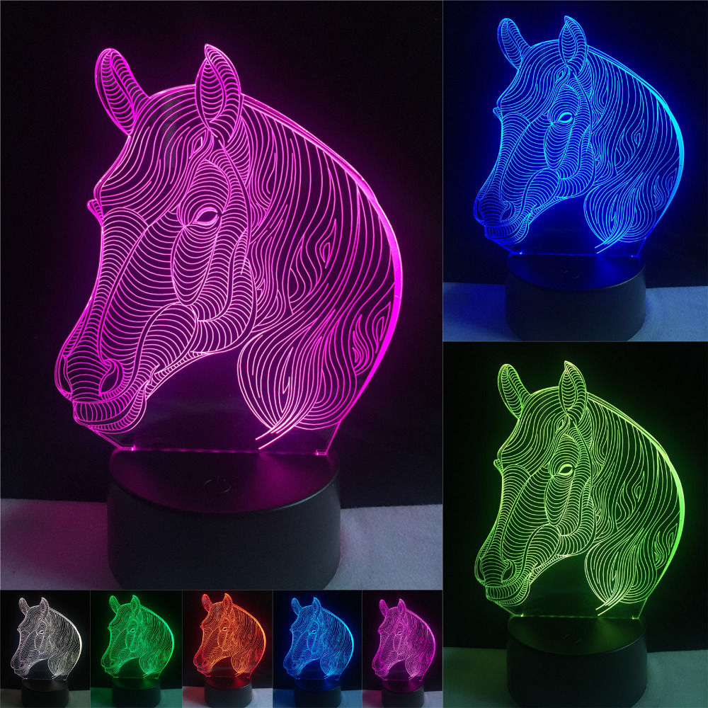 7 Colors Changing Gradient Fashion Animal Horse Head Led Nightlights 3D LED Desk Table Lamp Lamps Home Bedroom Party Decoration usb novelty gifts 7 colors changing animal horse led night lights 3d led desk table lamp as home decoration