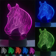 7 Colors Changing Gradient Fashion Animal Horse Head Led Nightlights 3D LED Desk Table Lamp Lamps Home Bedroom Party Decoration(China)