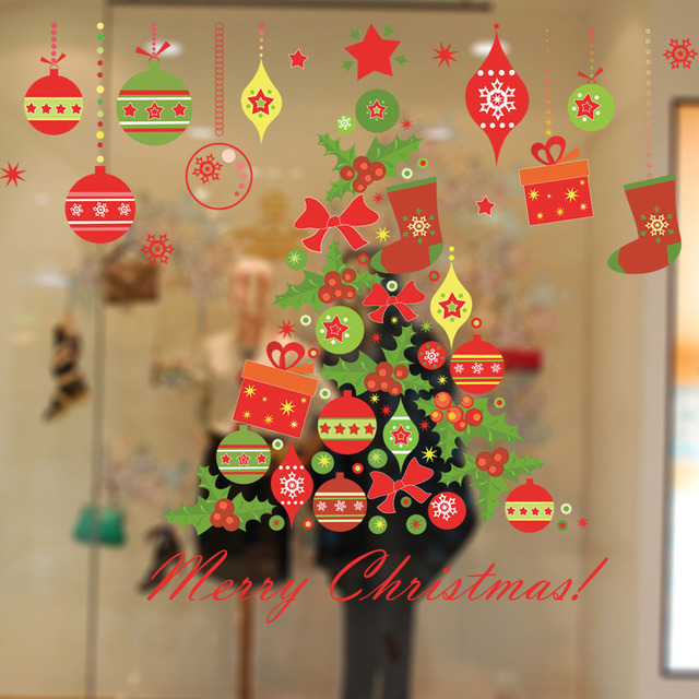 Good Christmas Tree Gift Wall Sticker Decals Window Party Store ...