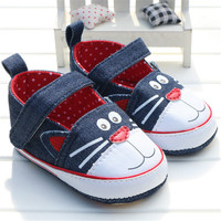 2016 Spring And Autumn Cute Newborn Baby Girls Canvas Printing Cat Pattern Soft Sole Non Slip