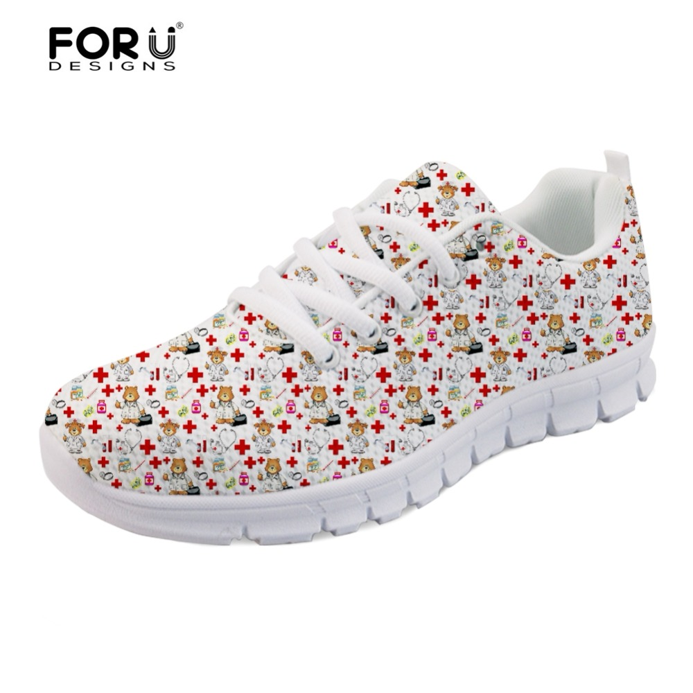 FORUDESIGNS 3D Nursing Coordinates Casual Brand Women's Sneakers Flats Summer Mesh Lace Up Shoes for Student Girls Zapatos Mujer forudesigns 3d flowers pattern women casual sneakers comfortable mesh flats shoes for female girls lace up shoes zapatos mujer
