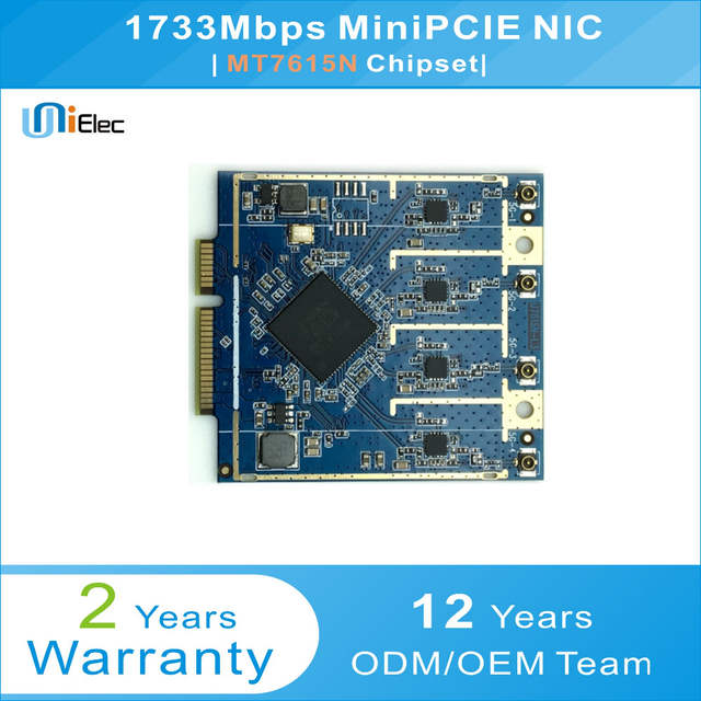 US $63 9 |MTK MT7615N 4x4 802 11ac Wave2 1733Mbps MiniPCIE NIC PCBA ODM OEM  MT7615 WiFi Custom Board-in Network Cards from Computer & Office on