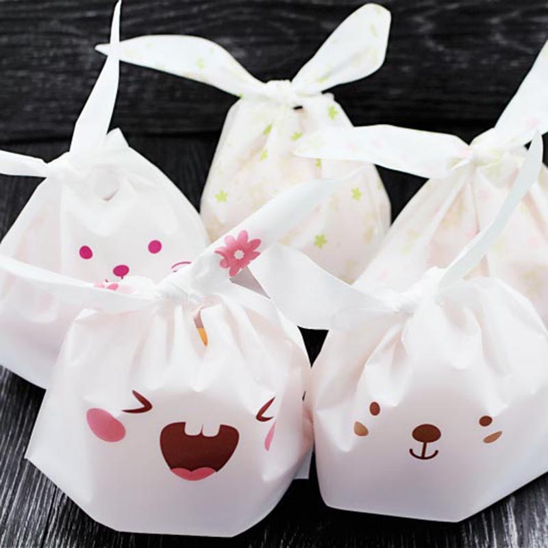 25pcs lot cute cartoon rabbit ear cookie bag plastic for Cookie bags for wedding