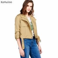 KoHuiJoo 2017 Autumn New Women Basic Jackets Casual Short Cotton Coats Female Casual Solid Zipper Flight