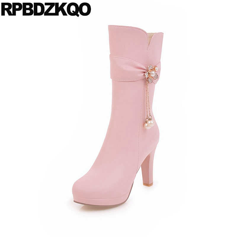 High Heel Side Zip Boots Lolita Mid Calf Metal Big Size 10 Platform 43 Fur Shoes Pink Pearl Chunky Rhinestone Chinese New lolita pink white lace up high heel student shoes sweet lady cosplay platform chunky block mid calf short boots 43