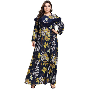 Женская мусульманская одежда Abayas, макси-мусульманское платье с цветочным принтом и оборками, кафтан в Дубае и турецком стиле размера плюс 4XL