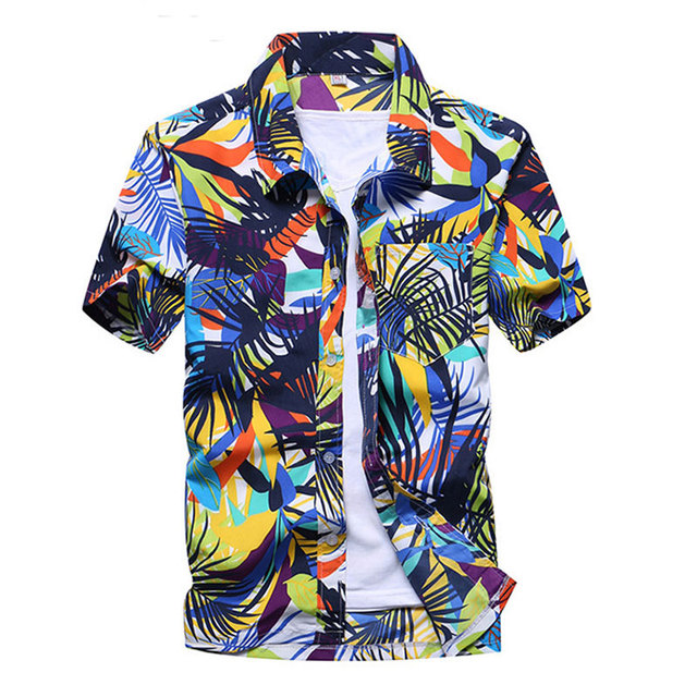 Mens Summer Fashion Beach Hawaiian Shirt Brand Slim Fit Short Sleeve Floral Shirts Casual Holiday Party Clothing Camisa Hawaiana 4