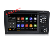 Free shipping android 7.1 CAR dvd player multimedia system for AUDI A3 S3 RS3 2003-2012 with car GPS navigation Quad Core