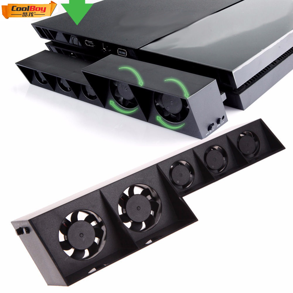 Cool boy USB External Turbo Temperature Control Cooling 5 Fan Cooler for Sony PS4 Console 0323