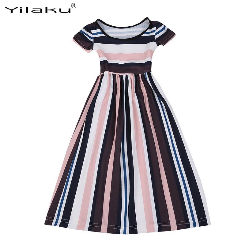 2017 nowych moda dziewczynek w paski sukienka letnia dziewczynka - Ubrania dziecięce - Zdjęcie 4