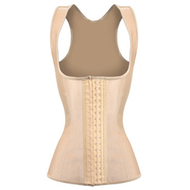 Apricot Sexy Corselet Steel Bone Corset Vest Women Latex Slimming Waist Trainer Corset Underbust Waist Trainer Firm