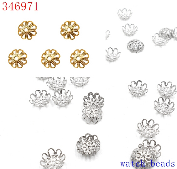 все цены на 2017 Promotion yiwu Beads 10mm 100 pcs/lot DIY Gold/Silver Plated Hollow Flower Metal Charms Bead Caps онлайн
