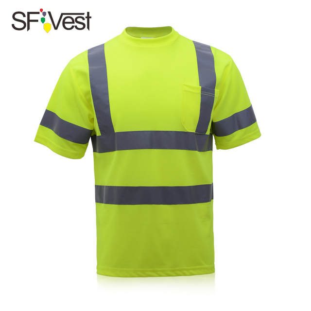 Safety Yellow Shirts >> Online Shop Men S Knitted Reflective Work Shirts Safety Yellow