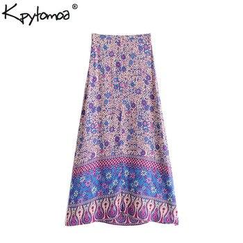 Boho Vintage Floral Print Split Skirt Women 2018 New Fashion Side Zipper A Line Summer Beach Ladies Skirts Casual Faldas Mujer Юбка