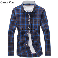 Brand Fashion Cotton Plaid Men Casual Shirt Long Sleeve Slim Fit Design High Quality Business Male