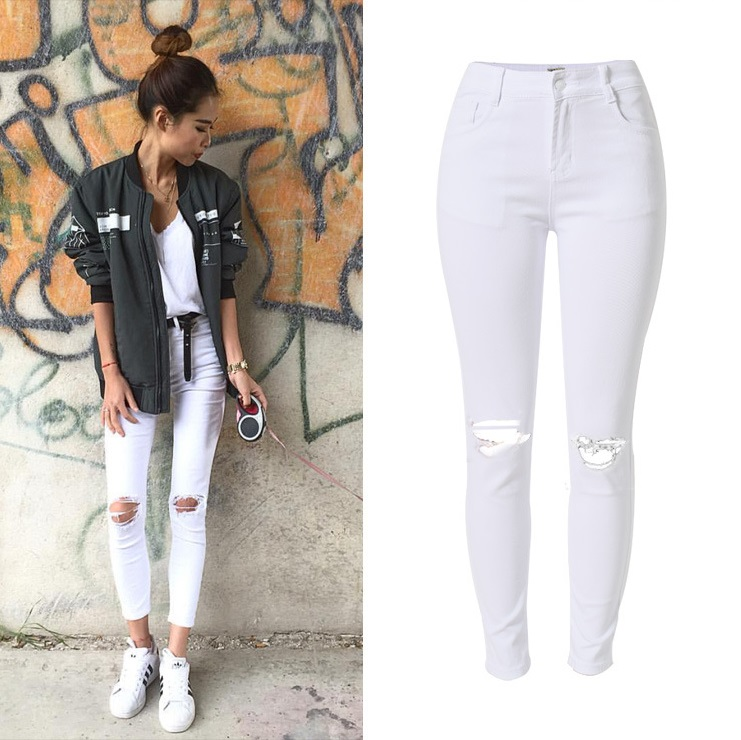 New Fashion Ladies White Ripped Jeans Kvinnor Skinny High Waist Jeans Femme Stretch Jean waist haute plus storlek