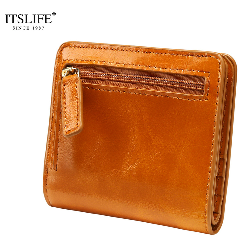 2018 new Oil Wax Leather Wallet Female Wallets with Zipper Coin Bag Genuine Leather Women Wallets Small Short Purses for Female