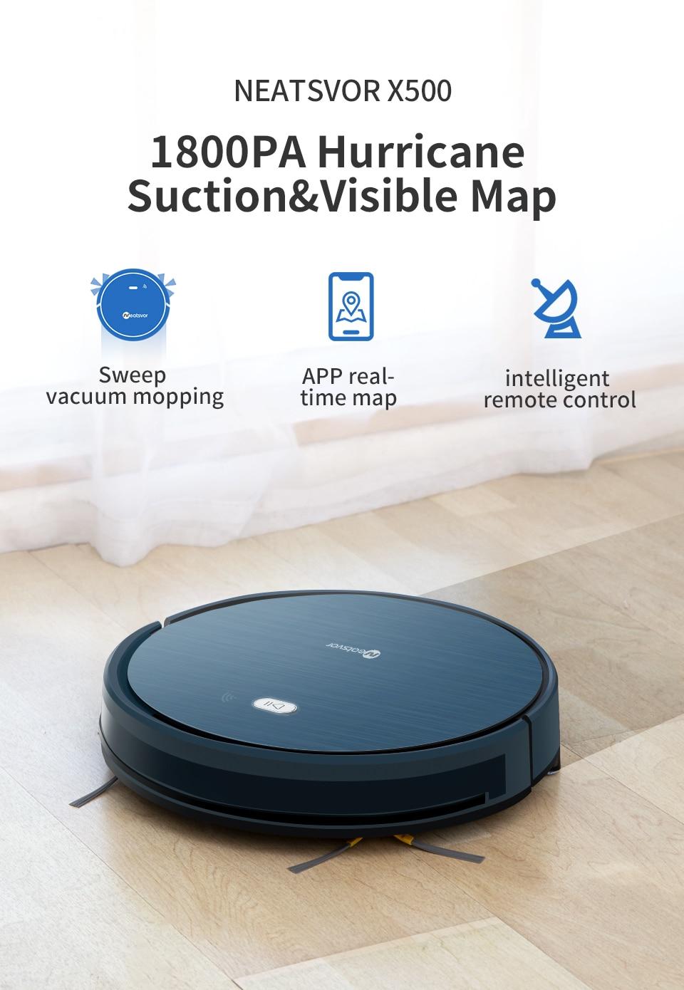 HTB1CmwuXET1gK0jSZFhq6yAtVXaw NEATSVOR X500 1800PA Robot Vacuum Cleaner,3in1 Wet Dry Mop,WIFI Map Navigation,Smart Memory,Anti Collision,Robot Aspirador